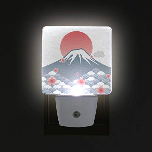(Mr.XZY Rising Sun Mount Fuji Watercolor Painting Pattern Series Lamp Japanese Style Set of 2 Auto Sensor LED Dusk to Dawn Night Light Plug in Indoor for Adults 2010886)