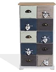 Rebecca Mobili Ladekast 10 laden Paulownia Hout Blauw Grijs Wit Vintage Shabby Slaapkamer Entree - 88 x 48 x 29 cm (H x B x D) - Art. RE4485