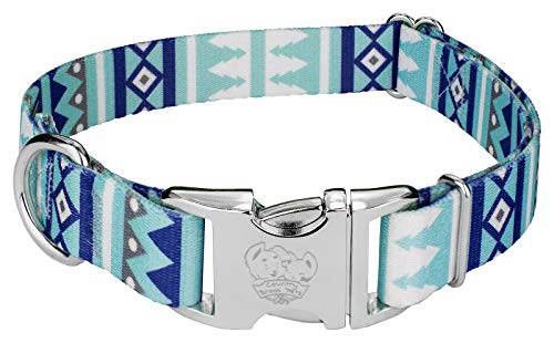 Country Brook Petz | Premium Snowy Pines Cane Dog Collar - Christmas Collection with 13 Designs - Christmas Patterned