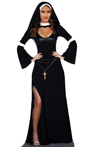 JJ-GOGO Sexy Nun Costume - Naughty Halloween Fancy Nun Dress Costume for Women -