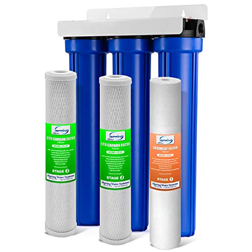 iSpring Whole House 3-Stage Water Filter System with Oversized Fine Sediment and Double Premium Carbon Block, WCB32O