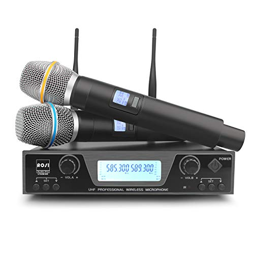ROSI UHF Wireless Microphone System 200 Channel Dual Wireless Mic Set with Handheld Mics 300ft Long Range Professional Performance for Outdoor Wedding, Church, Conference, Karaoke (Best Long Range Wireless Microphone)