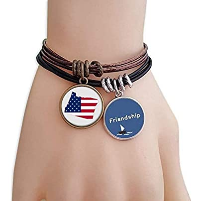 YMNW Oregon USA Map Stars Stripes Flag Friendship Bracelet Leather Rope Wristband Couple Set Estimated Price -