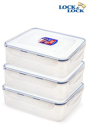 Lock & Lock Airtight Rectangular Food Storage Container with Drain Tray 131.87-oz / 16.48-cup (Pack of 3) (Lock & Rectangular Cup Lock)