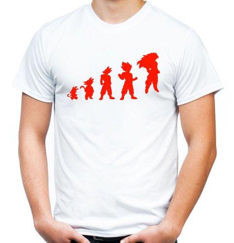 Evolution Son Goku T-Shirt   Dragonball   Z   Saiyajin   Saiyan   Vegeta   Männer   Herrn   Kult   white