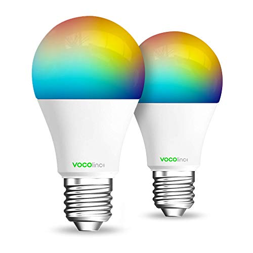 (VOCOlinc Smart Wi-Fi LED Light Bulb, Dimmable, Multicolor, Lighting Effects, Works with Apple HomeKit, Alexa, Google Assistant Compatible, No Hub Required, A19 E26, Wi-Fi 2.4GHz, L1 (2 Pack))