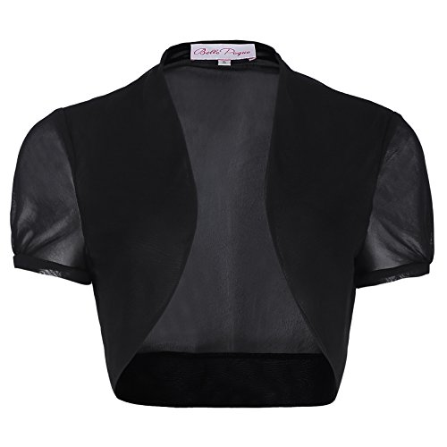 Short Sleeve Crop Shrug (Women's Shrug Short Sleeve Open Front Crop Bolero (S, Black 218-1))
