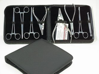 8pc Professional Piercing Tool Kit w/ Case