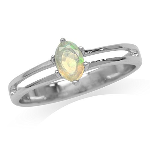 Petite Genuine Opal White Gold Plated 925 Sterling Silver Promise Ring Size 6 ()