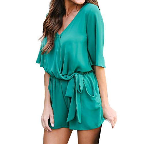 - Half Sleeve Jumpsuit for Women V-Neck Tops Sexy Bodycon