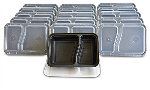 Yohino Meal Prep Containers With Leak Resistant Lids  16 Piece Set  Reusable  2 Compartment Bento Box For Lunch  U S  Patented Triple Seal Lid Design