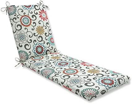 Pillow Perfect Outdoor Indoor Pom Pom Play Peachtini Chaise Lounge Cushion 80x23x3,Blue