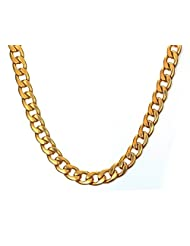 """Mens Stainless Steel Curb Chain Necklace,Gold,9.5MM Width,24"""""""