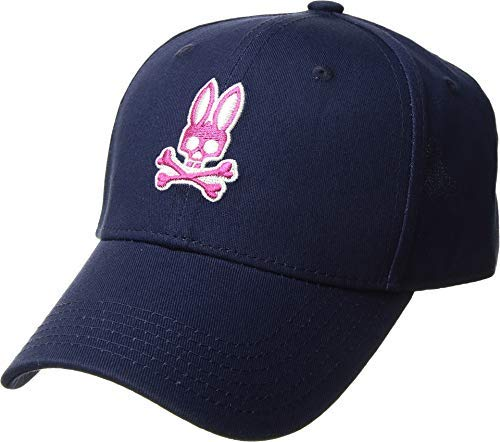 Psycho Bunny Men's Neon Embroidery Curved Brim Cap Blue Print One Size