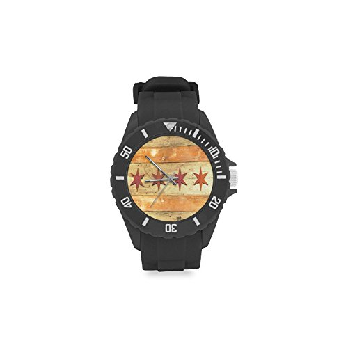 Novelty Gift Chicago State Flag Wood Pattern Sport Rubber Strap Watch]()