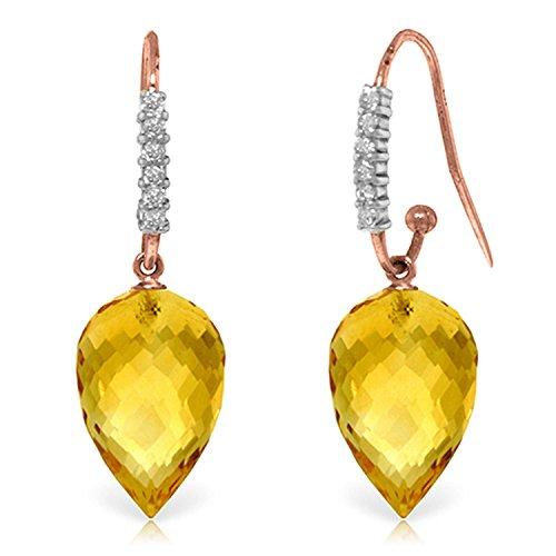 ALARRI 19.18 Carat 14K Solid Rose Gold Diamond Citrine Hook Earrings
