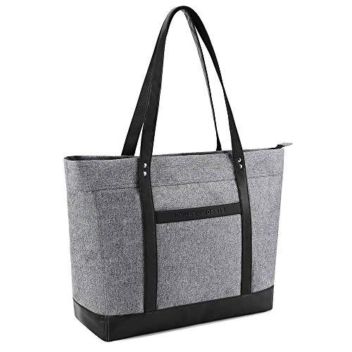 Laptop Tote Bag Fits 15.6 Laptop for Women Shoulder Bag Lekesky Lightweight Water Resistant Nylon Purse Grey