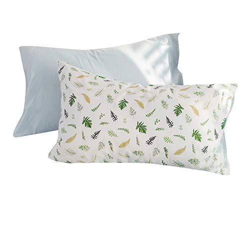 FenDie Pillow Cases Set of 2 - Plant Branches Pattern Standard Size (20x 26) Pillow Protectors Cotton White Pillow Covers Decorative, Envelope Closure End
