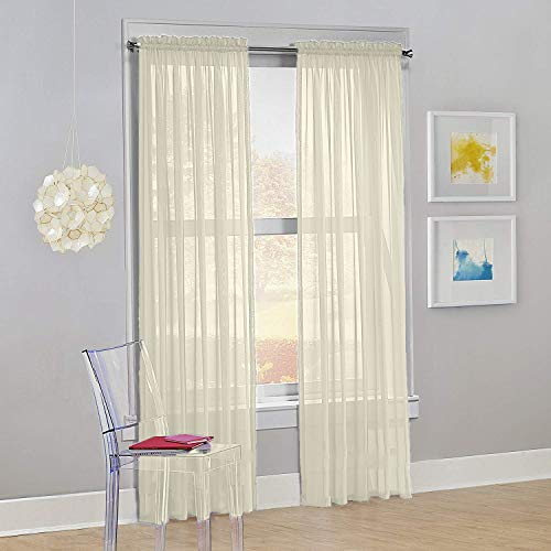 "Decotex Set of 2 Sheer Voile Transparent Window Panel Curtain Drapes (54"" W X 84"" L, Beige)"