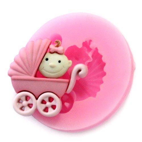 DGI MART DIY Silicone Mold Mini Baby Carriage Fondant Sugar Pudding Craft Mold Tray