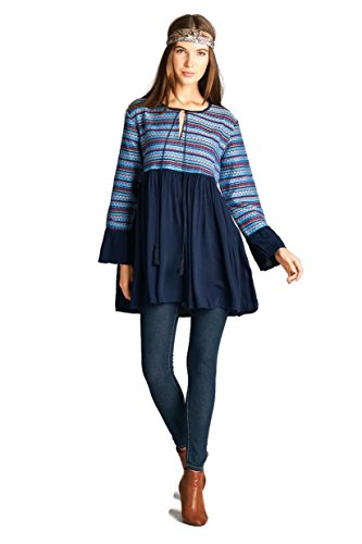 Boho-Chic Vacation & Fall Looks - Standard & Plus Size Styless - Velzera Embroidered Geometric Tunic Dress Boho Chic Plus Size (2X, Navy)