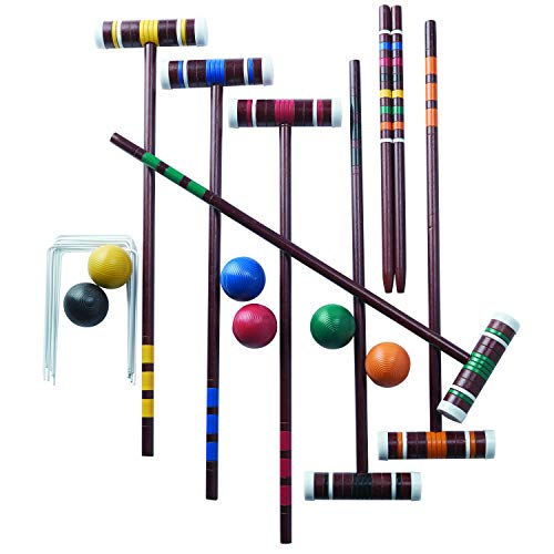 (Franklin Sports Croquet Set - Includes 6 Croquet Wood Mallets, 6 All Weather Balls, 2 Wood Stakes and 9 Metal Wickets - Classic Family Outdoor Game - Family Set)