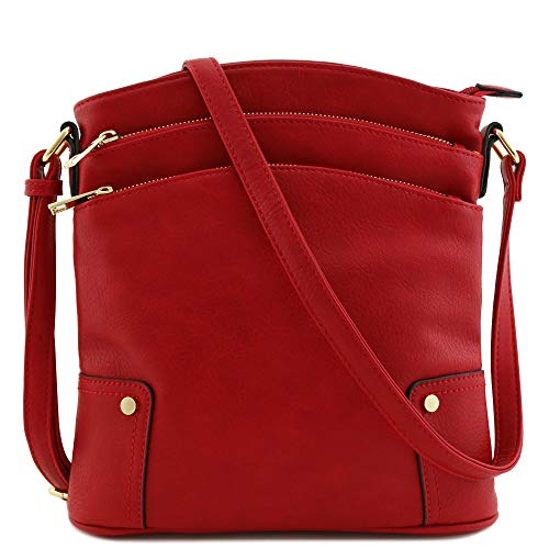 (Triple Zip Pocket Large Crossbody Bag Red)