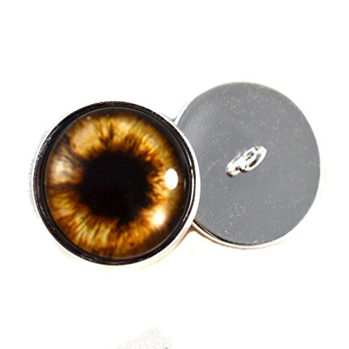 Teddy Bear Plushie Eyes 16mm Brown Glass Eyes Cabochons for Fantasy Art Doll Stuffed Animal Soft Sculptures or Jewelry Making Crafts Set of 2 -