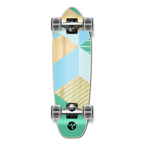 Yocaher Geometric Series Complete Decks Skateboards Available in, Mini Cruiser Micro Cruiser Shapes (Complete - Mini Cruiser - Green)