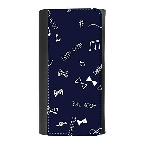 (Cute ribbon bow tie and music note on blue) women's Patterned Leather Buckle Trifold Wallet Bag Pouch Holster With Credit Card Holder insurance for smartphones