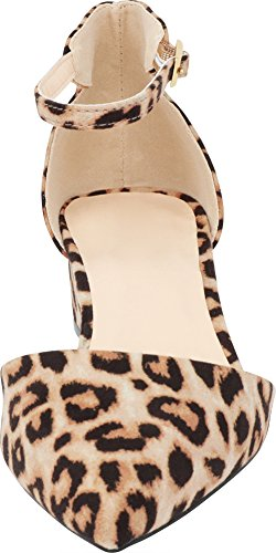 Heel Chunky Pump Leopard Imsu Strap Select Closed Block Ankle Toe Cambridge Low Women's Buckled Pointed Pq7WB8
