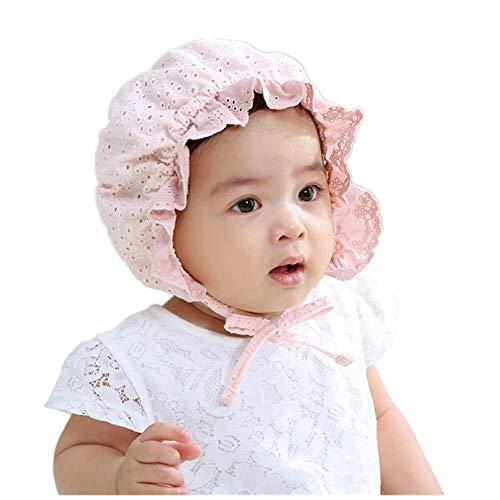 (FairyCos Girls Baby Bonnet Cap Vintage Kids Lace Hat Pilgrim Childs Hats (Pink 6))