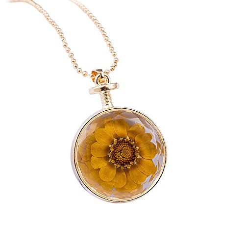 Women Necklace,Teen Girl Round Glass Dried Flowers Pendant Necklace Fashion Necklace Jewelry (Yellow)