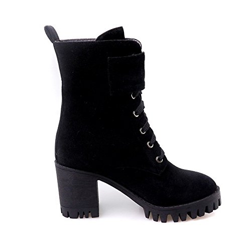 AgooLar Women's Imitated Suede High-Heels Round-Toe Solid Lace-up Boots Black OhZ1UsJiR
