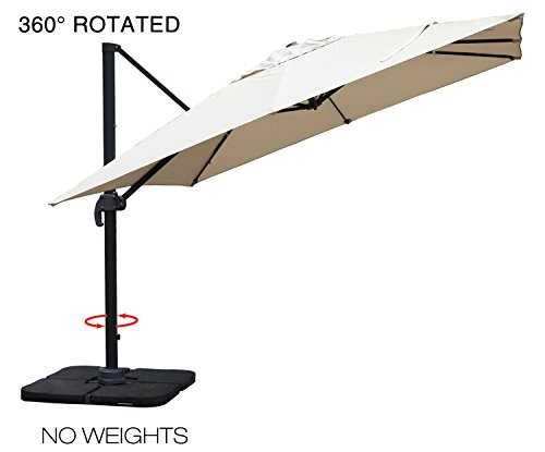 Mefo garden 10 by 10-Feet Offset Cantilever Umbrella, 360° Rotated Outdoor Patio Umbrella for Garden, Backyard, Square Canopy, Beige