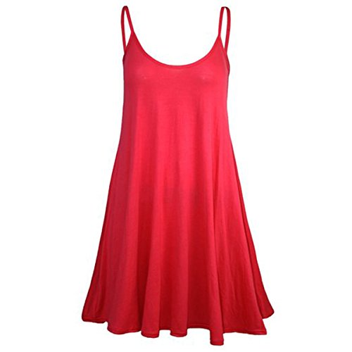 Girls Walk Women's Plain Plus Size Casual Flared Cami Strappy Swing Dress