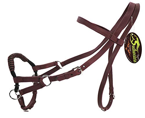 SOUTHWESTERN Equine Nylon Braided Horse Side Pull (Brown)