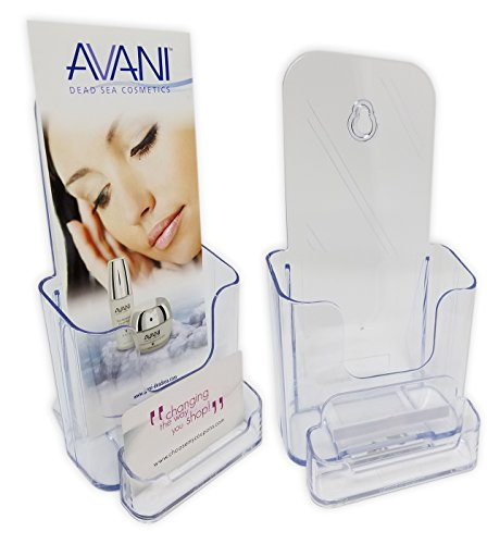 """Acrylic Trifold Brochure Holder   Pamphlet Display Stand for Tabletop or Wall, With Business Card Pocket Clear Acrylic 4"""" x 9"""""""