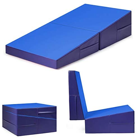 Giantex Folding Inclineマット勾配チーズ体操ジム練習エアロビクスタンブルウェッジ