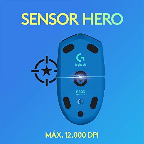 Mouse Gamer Sem Fio Logitech G305 LIGHTSPEED com 6 Botões Programáveis e Até 12.000 DPI - Azul