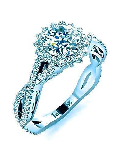 Round Halo Diamond Engagement Ring 1.26Ctw GIA Intertwined Shank Italian Scrolls Custom Jubariss Designer 14K White Gold Handmade