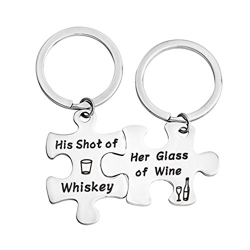 BNQL His and Her Couple Keychains Puzzle Piece for Girlfriend Boyfriend (silver)