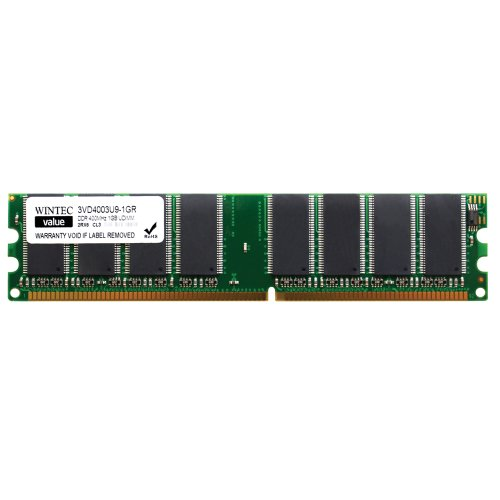 Wintec Value MHzCL3 1GB UDIMM Retail 2Rx8  (10) 1 Not a Kit (Single) DDR 400 (PC 3200) 184-Pin SDRAM 3VD4003U9-1GR by Wintec