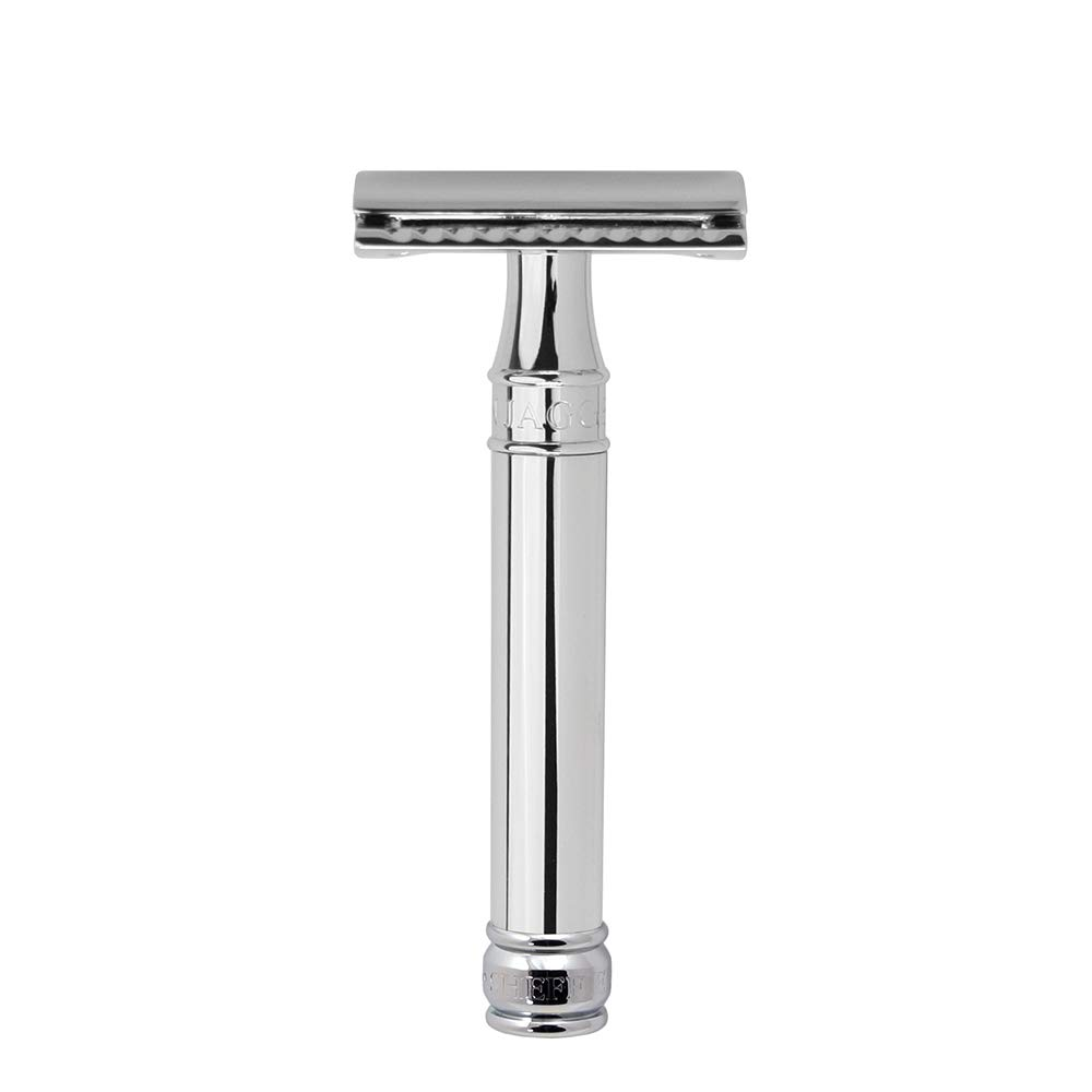 Edwin Jagger Double Edge Safety Razor, Chrome, Regular Handle, 5 blades
