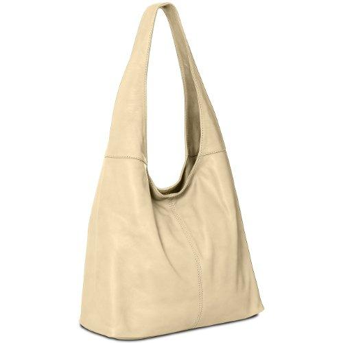 CASPAR Womens Handbag/Shoulder Bag/Shopper/Tote made from Soft Nappa Leather - many colours - TL610 Cream