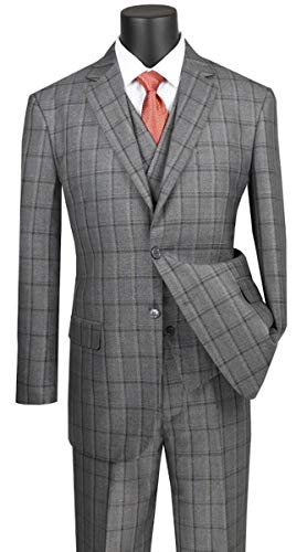 (VINCI Window Pane 2 Button Single Breasted Classic Fit Suit W/Shawl Collar Vest V2RW-12-Gray-40L)