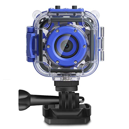 PROGRACE Children Kids Camera Waterproof Digital Video HD Action Camera 1080P Sports Camera Camcorder DV for Boys Birthday Learn Camera Toy 1.77'' LCD Screen (Navy Blue) (Things 10 Year Olds Want For Christmas)