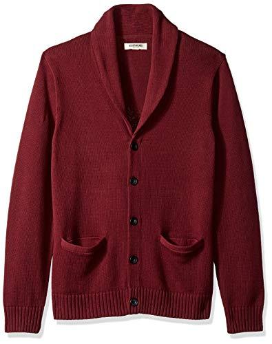 Amazon Brand - Goodthreads Men's Soft Cotton Shawl Cardigan Sweater, Solid Burgundy, X-Large