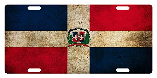 License Plate Covers Rep Dominicana Flag Dominican Emblem Dirty # 2 Custom Aluminum Metal for US Vehicles, 4 Holes Car Tag Decoration for Women/Men, 12 x 6 Inch