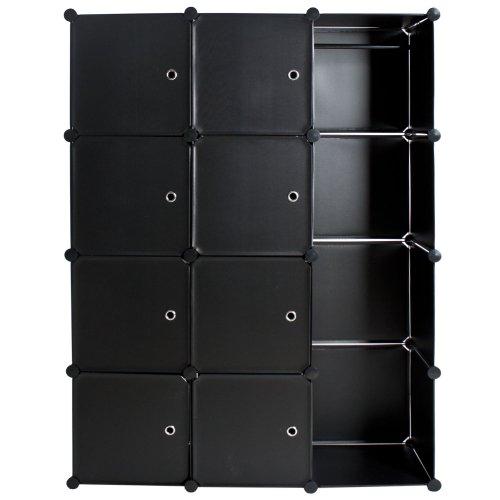 tectake armadio scarpiera mobiletto da bagno armadio da cameretta sistema di plug in cuba nero amazonit casa e cucina